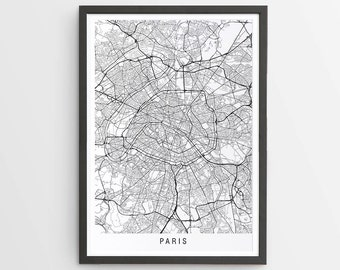 Paris Map Print - Minimalist Map / France / City Print / Maps / Giclee Print / Poster