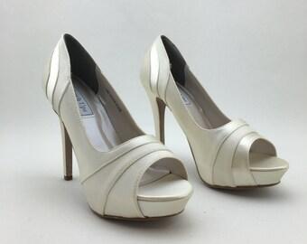 "Bridal Champagne Peeptoe Pump featuring Satin & Luxe Materials, 4"" Heel Platform Bridesmaid, Bridal Pump"