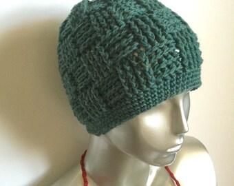 Crochet Jade Heather Basket Weave Hat.