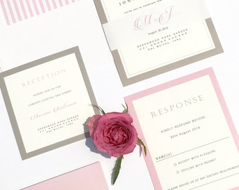 Gray and Pink Wedding Invitations Sample, Monogram Invitation, Modern Blush Wedding Invitation Sample, Classic Invitation Sample Kits