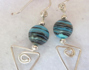 Light Blue and Black Striped Glass Bead Earrings