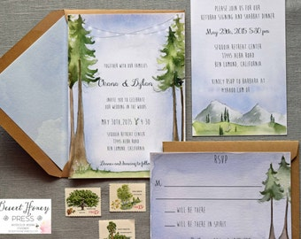 Forest Wedding Invitation Suite   Watercolor Woodland Wedding Invitations   Nature  Wedding Invitation Set