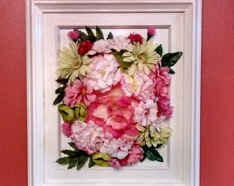 Pink, white and green floral frame