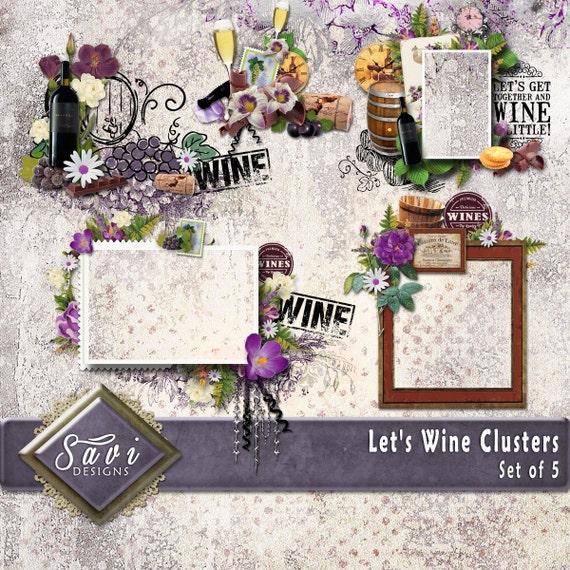 Digital Scrapbooking ClustersX5 LET'S wine, wine, wine bottle, glass premade embellishment png clusters make QUICK scrap page