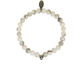 Bracelet skull 925 sterling silver howlite beads handmade