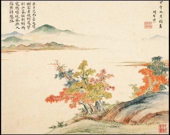 Autumn Landscape Print - Vintage Landscape - Chinese Vintage Print - Chinese Art - Autumn Wall Decor - Digital Download - Digital Print