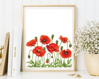 Red Poppies wall art print red poppies room Decor kitchen decor floral print flowers print red