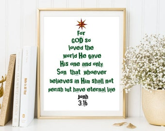 For GOD so loved print bible verse John 3:16 christian print bible quote encouragament christmas inspirational print art inspirational quote