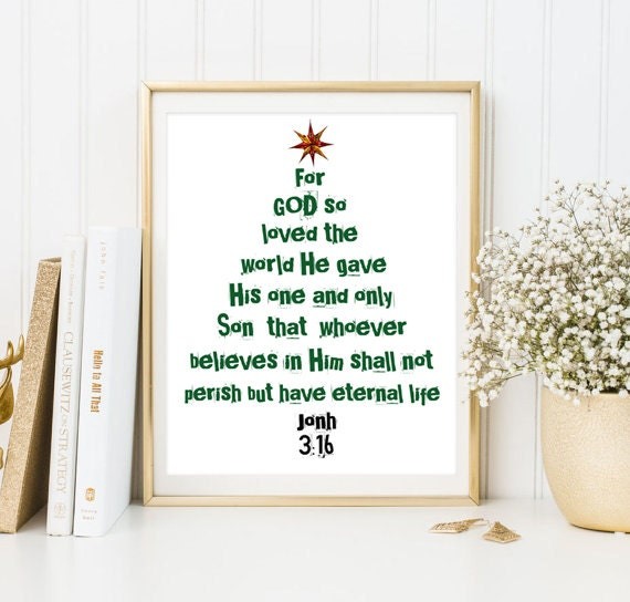 For GOD so loved print bible verse John 3:16 christian print