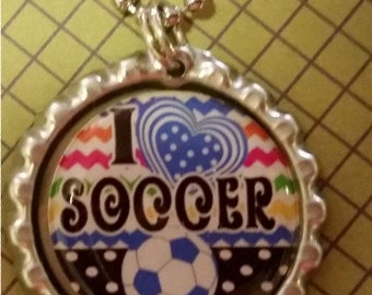 I Love Soccer Pendant Necklace