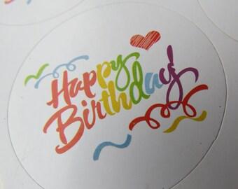 18 Happy Birthday Stickers / Labels / Envelope Seals / Stickers / Craft Supplies