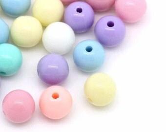 200x Acryl Perlen - Acryl Beads - 6mm - acrylic - Pastell / Pastel Mix Color Bunt - Schmuck/Jewellery - Crafting DIY