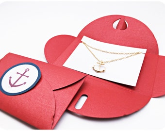 Chain anchor GOLD, RED anchor packing, gift idea, Anchor love