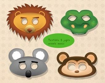 Jungle animal mask, lion mask, crocodile mask, alligator mask, koala mask, monkey mask, kid mask, paper mask, printable lion mask