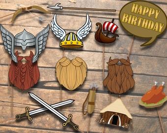 Viking Photo booth Props - Viking Party-Printable - Photo Booth Party Props - Photo Props-Instant Download