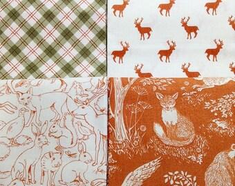 Makower sherwood orange quarter bundle, sherwood, forest theme fabric, orange fabric