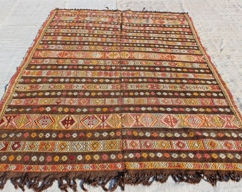 "Turkish Cicim Rug,8.7""x5.10""Feet, 260x177 cm, Decorative Anatolian Area Kilim Rug,Nomadic Woven Cicim Rug,Home Decor Kilim Rug"