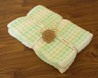 Baby Marble Green/Lemon/White Pram Blanket