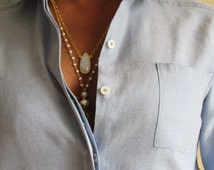 The ALEAH Layered Necklace, Pearl necklace, Moonstone necklace, 18k Vermeil necklace, chanel necklace, double chain, tassel necklace