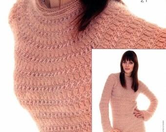 Women knitted sweater color pink handmade / custom