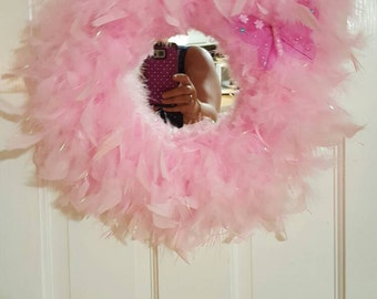 """Girls Pink Feather Boa Mirror 14"""""""