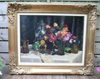 Flemish Oil Panel Painting signed dated 1940 still live floral