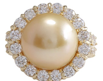 2.00CTW Natural 13.18Mm Gold South Sea Pearl Diamond Ring 14K Yellow Gold