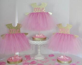 Birthday Party Tutu Centerpiece Pink & Gold Glitter, First Birthday Centerpiece, Personalized Age