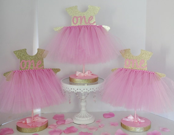 Birthday party tutu centerpiece pink gold glitter first