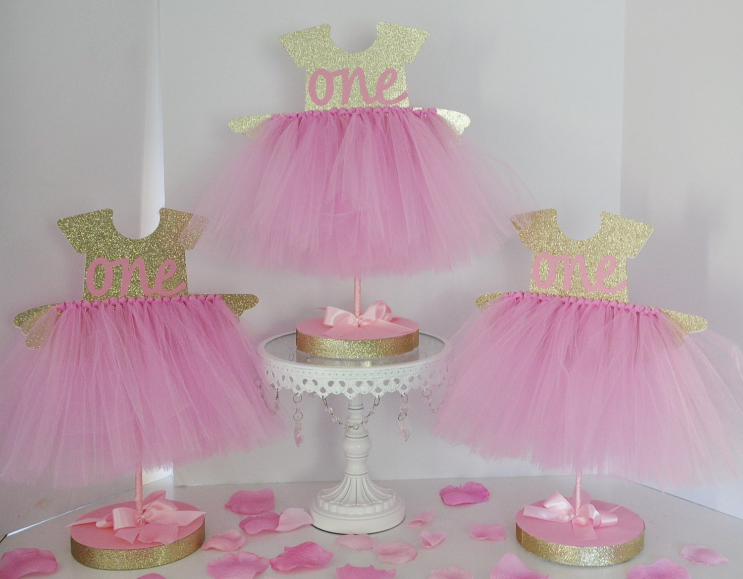 Birthday party tutu centerpiece pink gold glitter first