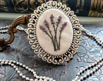 Lavender Embroidered Frame Necklace in Antique Silver