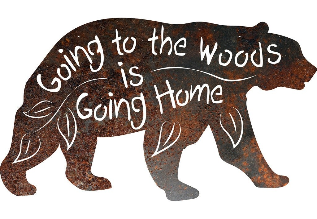 Rustic home decor black bear going to the woods is going for Rustic bear home decor