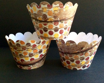 Fall Pallet Cupcake wrappers Polka Dot