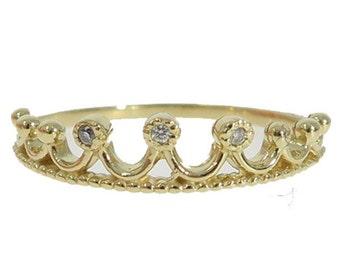Bezel Diamond Crown Tiara 14k Gold Ring