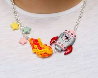 One of a Kind Rocket Ship Statement Necklace