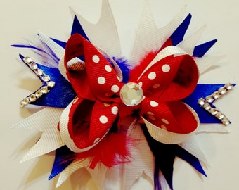 4th of July Stacked hair bow