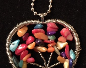 Handmade Tree of Life Necklace made from Quartz  Chips