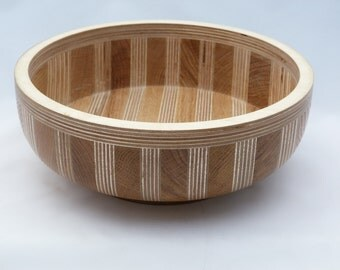 OAK & PLYWOOD FRUIT Bowl, Made entirely from salvaged materials finished in gold gilt and oil.