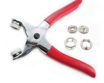 "25 Sets Press Snap Fastener Pliers Stud Attaching Tools 3/8"" Nickel C258"