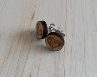 Wood Love Heart stud earrings