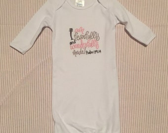 I am Fearfully and Wonderfully made Baby Gown