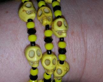 Skull Beaded Bracelet - Black and Yellow