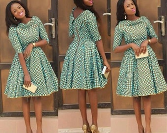 Ankara Pleated Dress with Dual Neckline
