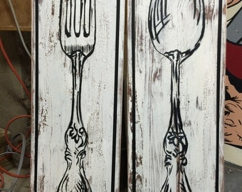Fork And Spoon Painting On Reclaimed Wood