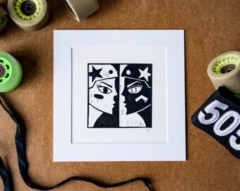 Roller Derby Art Print #2 - hand-printed lino cut