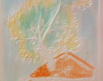 Embossed watercolor print Deja vu 1977
