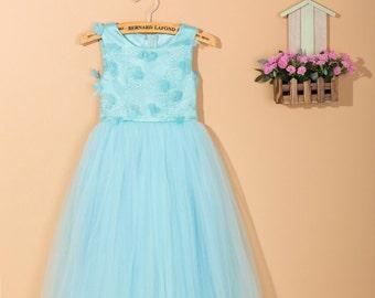 Blue flower girl dress/ baby girl dress/ party girl dress/ toddler girl dress/ tulle flower girl dress/ flower girl dress for wedding