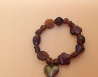 Stretchy bracelet, brown&gold, chunky bracelet