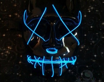 The Purge Anarchy Movie Neon Blue Zipper Face Glow Mask Perfect for Raves, Festivals, and Costume Parties Kandi Perlers Rave Gear