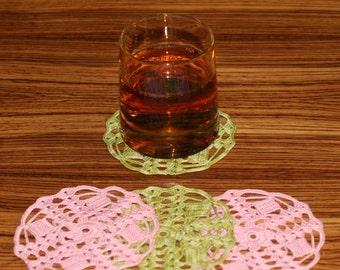 Crochet doily coasters Set of 4  Подстканники салфеточки связанные крючком 4 шт